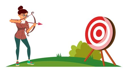 Attainment Winner Concept Vector. Business Woman Shooting From A Bow In A Target. Objective Attainment, Achievement, Success, Leadership. Flat Cartoon Illustration Illustration