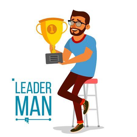 Attainment Concept Vector. Businessman Leader Holding Winner Golden Cup. Objective Attainment, Achievement. Best Worker, Achiever. Modern Office Employee. Flat Cartoon Illustration