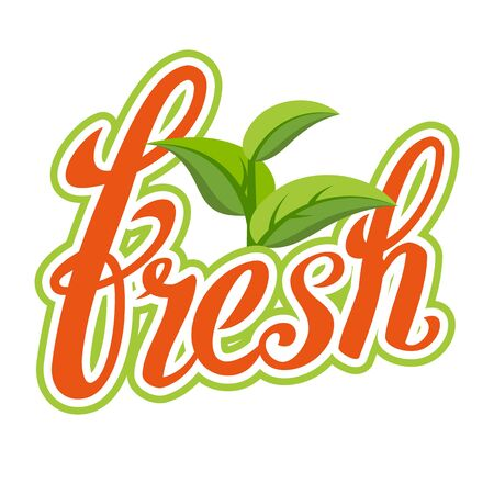 Fresh Sigh Vector. Healthy Life. Handmade Calligraphy. Organic Natural Product. Isolated Illustration