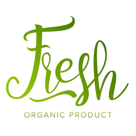Fresh Food Sigh Vector. Healthy Life. Eco. Stamp. Tag, Label, Emblem. Handmade Calligraphy. Farmers Market. Organic Natural Product. Isolated Illustration