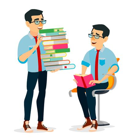 Man In Book Club Vector. Carrying Large Stack Of Books. Studying Student. Vectores