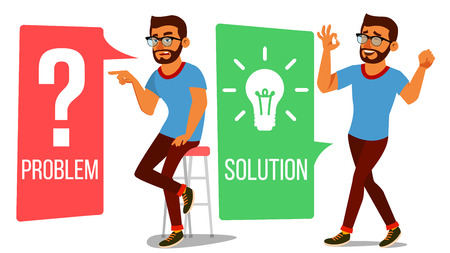 Man Solving Problem Vector.  Isolated Flat Cartoon Illustration