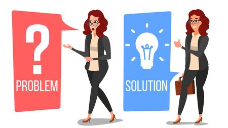 Woman Solving Problem Vector.  Isolated Flat Cartoon Illustration