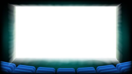 Pantalla de cine cine Vector. Cinema Hall Asientos azules. ilustración Foto de archivo - 97834487