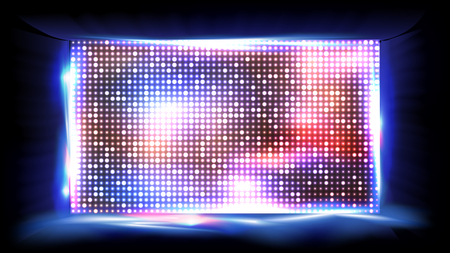 Screen LED Vector. Brilliant Beam. Big Board. Glowing illuminated LED. illustration Illustration