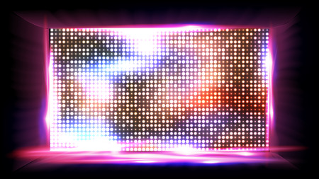 Illustration of an LED screen vector with lights and dots Illustration