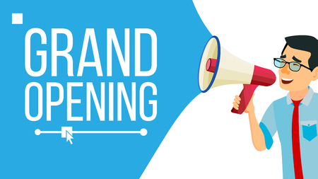 Businessman Announce Concept Vector. Screaming Announcement Banner Design. Man With Megaphone. Grand Opening. Search For Employees. Promotion Illustration Vettoriali