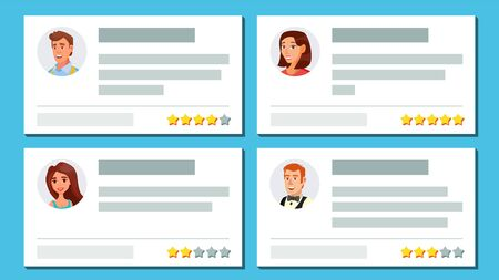 Customer feedback vector, text and feedback evaluation. User avatars notification messages with rate and text. Shop quality work flat cartoon illustration. Stock Illustratie
