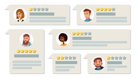 Système de classement vectoriel de rétroaction des clients. Travail de qualité commerciale, bilan positif et négatif. Témoignages et messages illustration de dessin animé plat.