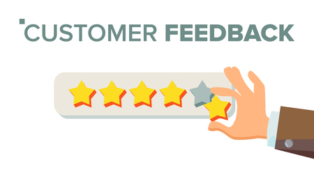 Client Giving Rating Vector. Businessman Hand. Feedback. Testimonial. Isolated Flat Illustration Stock Illustratie