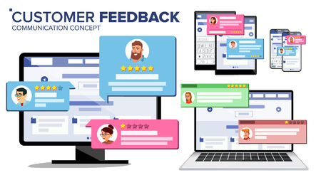 Customer Review Page On Computer Monitor, Laptop, Tablet, Mobile Phone Vector. Client Testimonials. Website Rating Feedback And Review Concept. Isolated Flat Illustration
