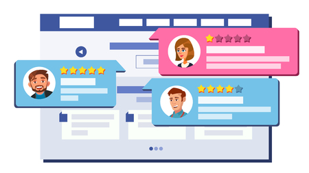Review Rating Web Page Design Vector. Online Store, Shop, Market. Client Testimonials Concept. Good, Bad Rate. Positive, Negative Rate. Speech Bubbles. Isolated Flat Illustration