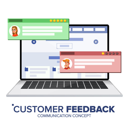 Customer Review On Laptop Vector. Speech Bubbles. Feedback Experience. Store Web Page. Isolated Flat Illustration
