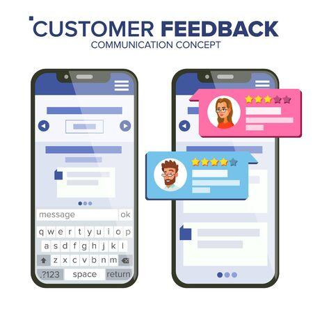 Customer Feedback Rating Vector. Smartphone Vector. Speech Bubbles. Social Media App Interface. Isolated Flat Illustration Illustration
