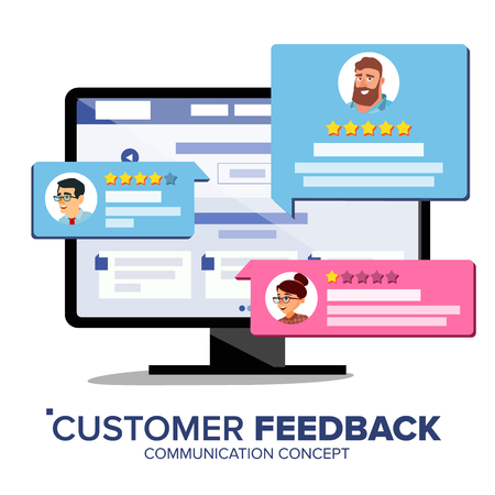 Customer Review Vector. Desktop Pc Display On Monitor Screen Vector. Speech Bubbles. Online Store Web Page. Client Testimonials Concept. Isolated Flat Illustration