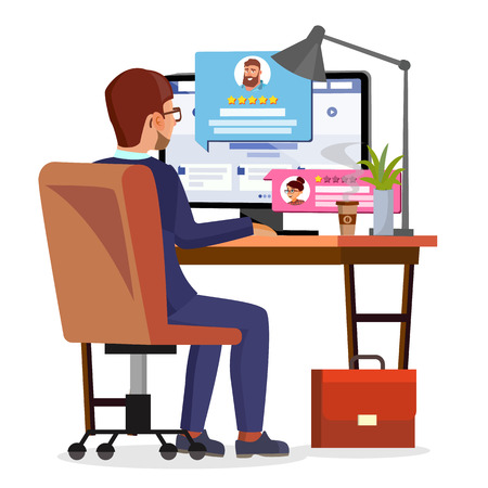 Man Writing Client Testimonial On Internet Online Store Vector. Vote, Feedback, Rating, Liked. Isolated Flat Illustration