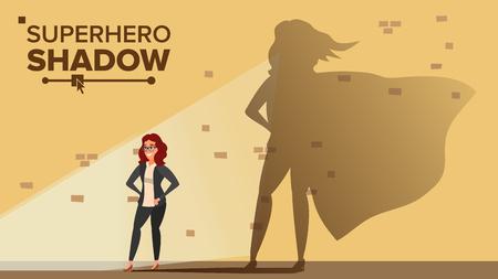 Empresaria Superhero Shadow Vector. Emancipación, Ambición, Éxito. Concepto de liderazgo Creativo moderno superhéroe de negocios. Ilustración de dibujos animados plana