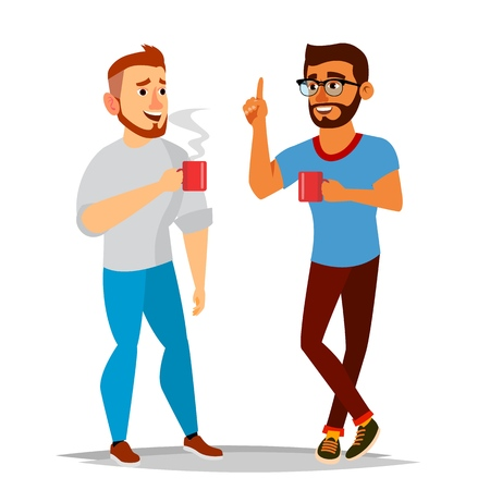 Talking Men Vector. Laughing Friends, Office Colleagues. Communicating Male. Meeting. Conversation, Analysis Concept. Business Person. Exchange Of Ideas. Isolated Flat Cartoon Illustration Illustration