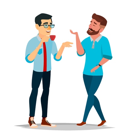Talking Men Vector. Laughing Friends. Talking Colleagues. Communicating Male. Business Person. Teamwork. Men Talk, Discussion. Isolated Flat Cartoon Illustration