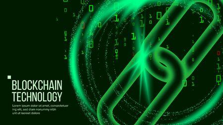 Blockchain Vector. Digital Code Chain. P2P. Development Software Platform. Investment Crypto Illustration