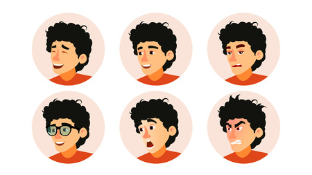 Junior character business people avatar vector. Developer teen man face, emotions set, creative avatar placeholder, cartoon flat illustration. Vectores