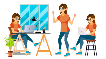 Business Woman Character Vector. Environment Process. Lady In Various Poses. Creative Studio. Cartoon Illustration
