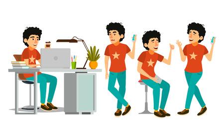 Junior Developer Character Vector. Young Coder In Modern Office Workplace. Developer. Programmer. Software. Environment Process. Cartoon Business Illustration Illustration