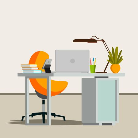 Modern Workplace in colorful, flat Illustration.