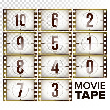 Film Countdown Numbers 10 - 0 Vector. Monochrome Brown Grunge Film Strip. Elements Of Cinema. Start Of The Retro Film. Counting Down Timer Animation. Isolated On Transparent Background illustration