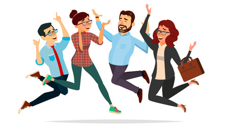 Business People Jumping Vector. Celebrating Victory Concept. Attainment. Objective Attainment, Achievement. Isolated Flat Cartoon Character Illustration Illustration