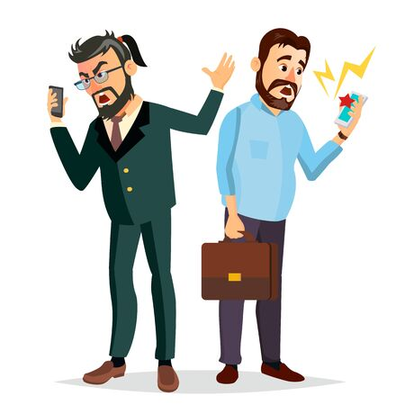 Boss Shouting On Phone Vector. Screaming, Problem, Quarrel Concept. Boss In Action. Talking To Each Other. Environment Process. Isolated Cartoon Business Character Illustration