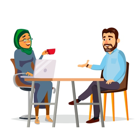 Business People Sitting At The Table Vector. Laughing Friends, Office Colleagues Bearded Man And Muslim Woman Talking To Each Other. Isolated Flat Cartoon Character Illustration.