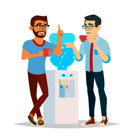 Water Cooler Gossip Vector. Modern Office Water Cooler. Laughing Friends, Office Colleagues Men Talking To Each Other. Communicating Male. Isolated Cartoon Character Illustration