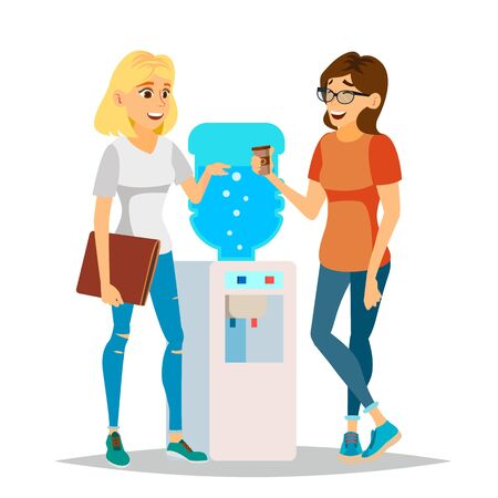 Water Cooler Gossip Vector. Modern Office Water Cooler. Laughing Friends, Office Colleagues Women Talking To Each Other. Communicating Female. Business Person. Women Discussion. Illustration