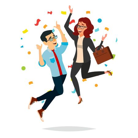 Business Couple Jumping Vector. Man And Woman. Objective Attainment, Achievement. Best Worker, Achiever. Isolated Flat Cartoon Character Illustration