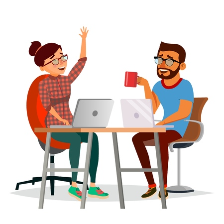 Business People Sitting At The Table Vector. Laughing Friends, Office Colleagues Man And Woman Talking To Each Other. Business Team. Isolated Flat Cartoon Character Illustration