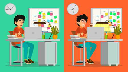Stressed Out Man Vector. Young Coder Working At Office. Stressful Work, Job. Tired Junior Programmer. Person. Hard Career. Company Employee. Software Development. Flat Cartoon Character Illustration Ilustração
