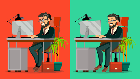 Stressed Out Boss Vector. Bearded CEO Working At Office. Stressful Work, Job. Tired Businessman. Person. Hard Career. IT Startup Business Company. Flat Cartoon Character Illustration