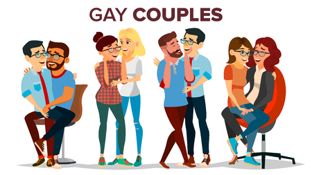 Gay, Lesbian Couple Set Vector. Hugging Men And Women. Same Sex Marriage. Romantic Homosexual Relationship. LGBT. LGBTQ. Isolated Flat Cartoon Character Illustration 向量圖像