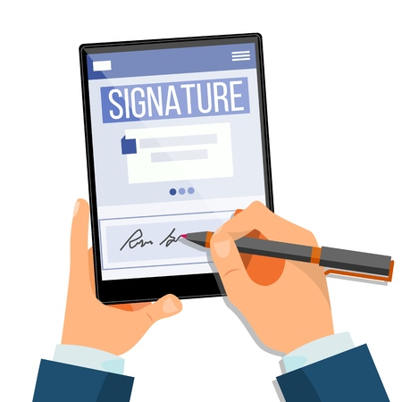 Electronic Signature Tablet Vector. Electronic Document, Contract. Digital Signature. Isolated Illustration 向量圖像