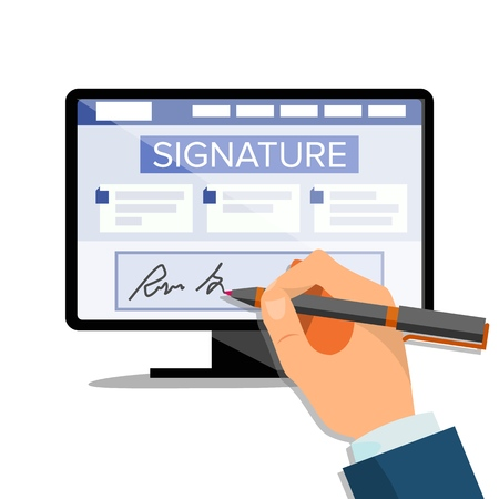 Electronic Signature Vector. Finance Digital Document. Electronic Contract. Computer. Businessman Hands. Isolated Illustration