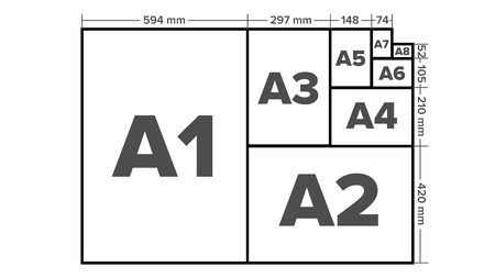 Paper Sizes Vector. A1, A2, A3, A4, A5, A6, A7, A8 Paper Sheet Formats. Isolated Illustration