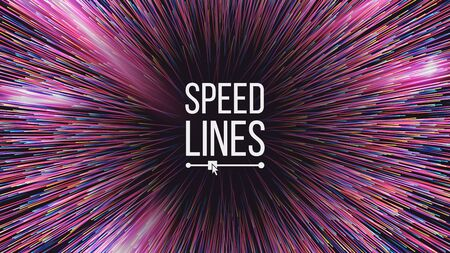 Abstract Speed Lines Vector. Motion Effect. Motion Background. Glowing Neon Composition. Illustration Иллюстрация