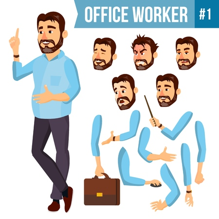 Office Worker Vector. Face Emotions, Various Gestures. Animation Creation Set. Corporate Businessman Male. Successful Officer, Clerk, Servant. Isolated Cartoon Illustration. Illustration