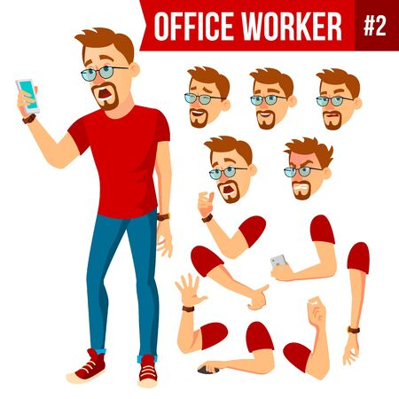 Office Worker Vector. Face Emotions, Various Gestures. Animation Creation Set. Businessman Human. Modern Cabinet Employee, Workman, Laborer. Isolated Flat Cartoon Character Illustration.