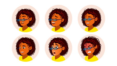 African Black Woman Avatar Vector. African American Woman Face, Emotions Set. Character Business People. Illustration