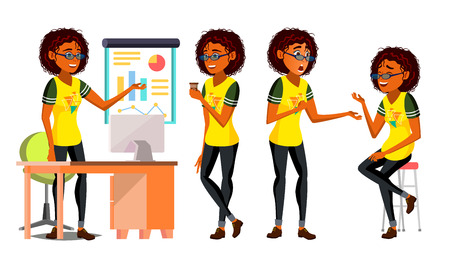 Business African Black Woman Character Vector. Female In Different Poses. Clerk In Office Clothes. Designer, Manager. Young American Woman. Workplace. Cartoon Illustration