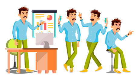 Business Man Character Vector. Working People Set. Office, Creative Studio. Worker. Full Length. Programmer, Designer, Manager. Poses Face Emotions Cartoon Business Character Illustration