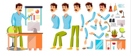 Business Man Worker Character Vector. Working Male. Office Worker. Animation Set. Clerk, Salesman, Designer. Emotions Expressions Cartoon Illustration