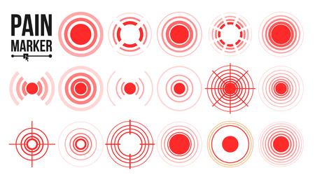 Pain Symbol Set Vector. Round Medical Design Element. Isolated Illustration